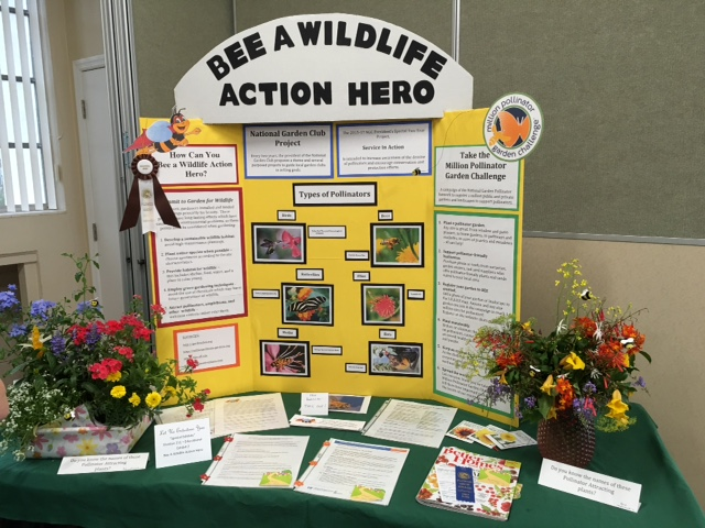 Environmental chair Mary Yeomans displayed the importance of attracting wildlife to your garden. Mary won the Educational Award.